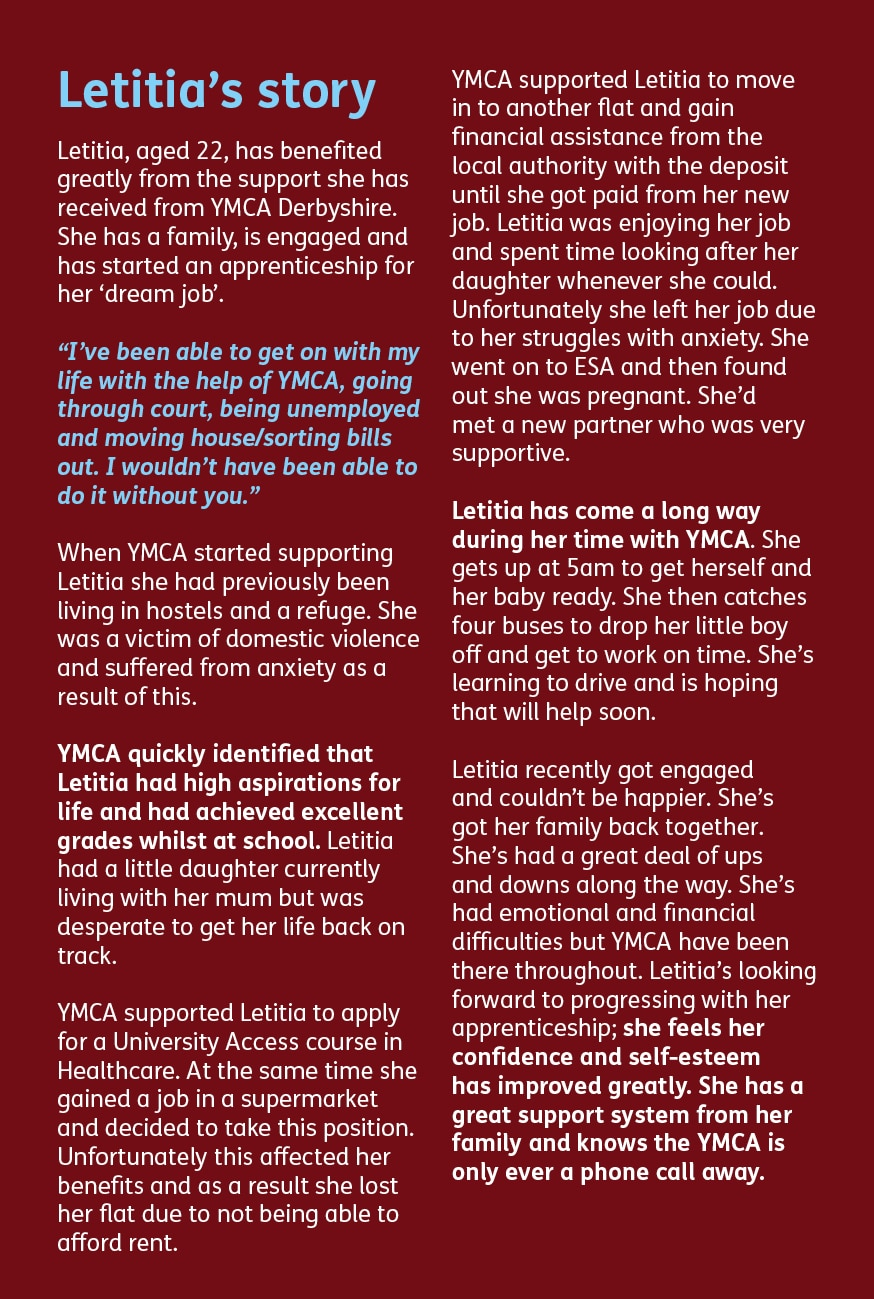 Letitia's story at the YMCA Derbyshire