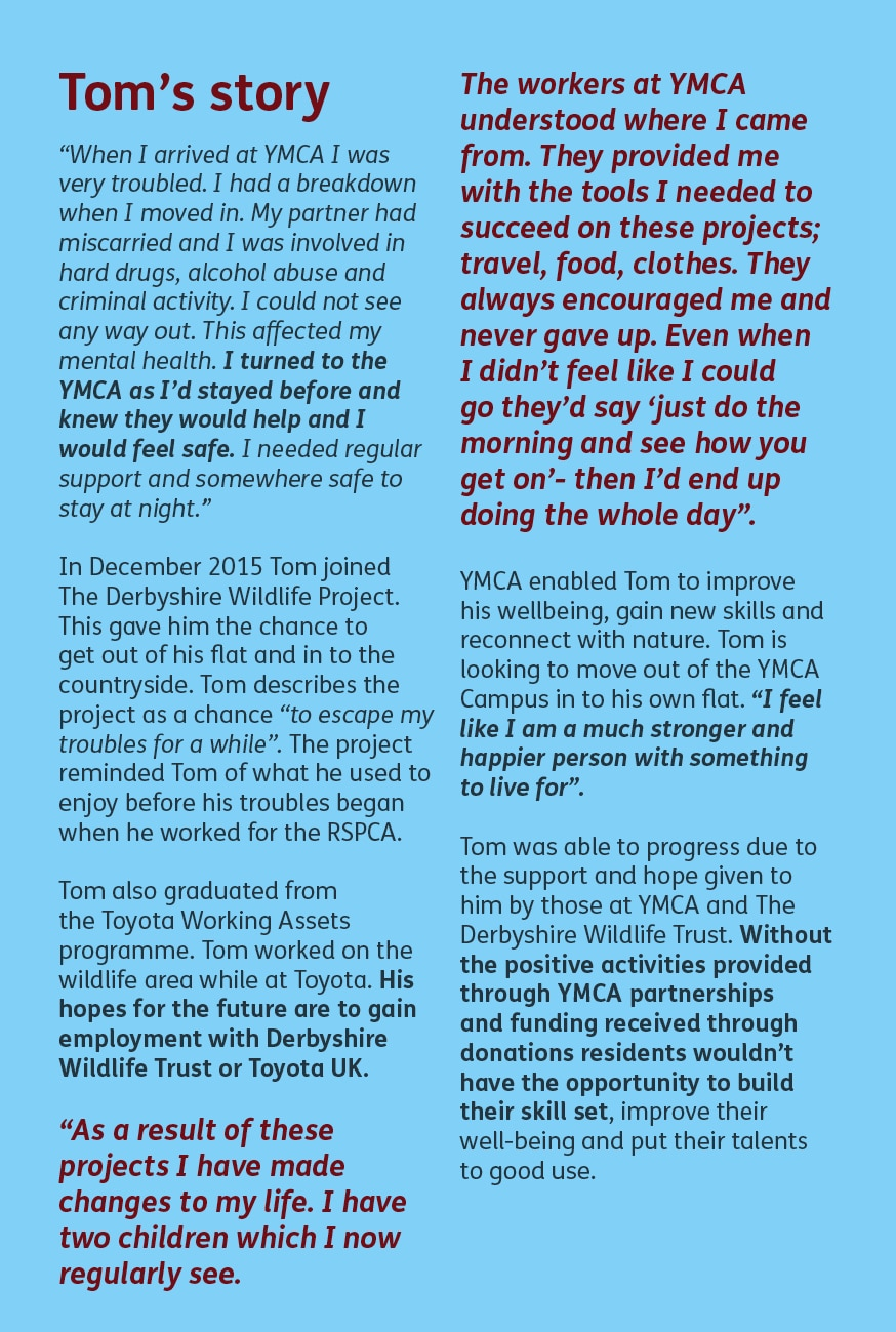 Tom's Story at the YMCA Derbyshire
